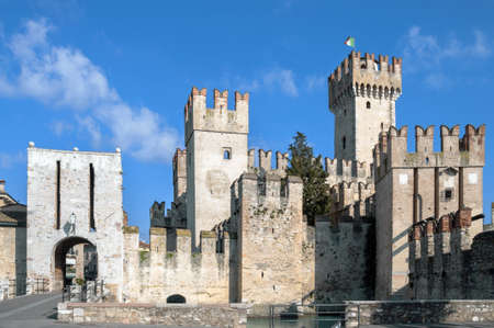 garda: Sirmione Scaliger castle on garda Lake in Italy Editorial