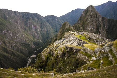 pre columbian: Machu Picchu view in early morning view from above