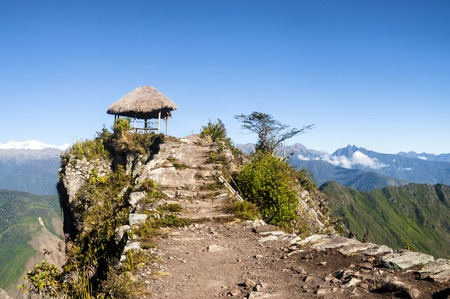 atop: Pavillion atop Peak of Machu Picchu Mountain after a long hike