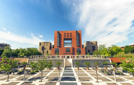 Facade and square of Bicocca University, Milan Lombardy Italy