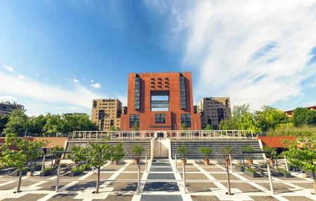 milánó: Homlokzati és tér Bicocca Egyetem, Milánó Lombardia Olaszország