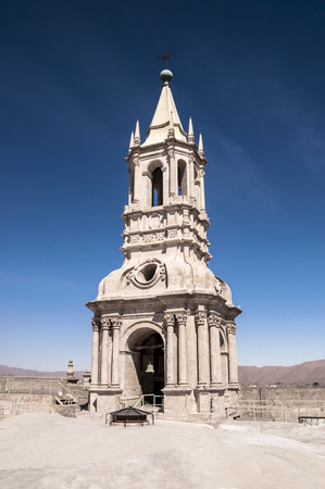 medioeval: On top the Cathedral, iew of the Tower bell in Arequipa, Peru