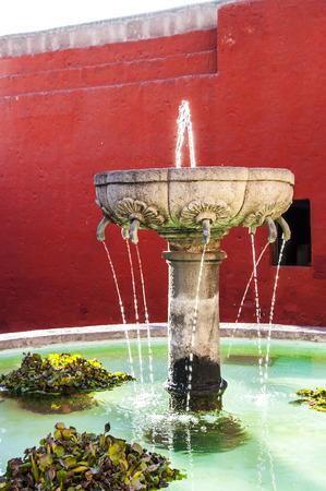 medioeval: Santa Catalina Monastery fountain in Arequipa, Peru
