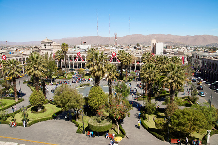 plaza de armas: View on Plaza de Armas in Arequipa, Peru, South America on indipendence day