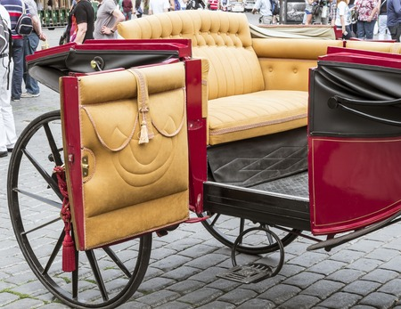 royals: Beautiful open old carriage for tourist in Prague Stock Photo