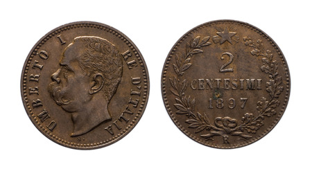 copper coin: Two cent of Lira copper Coin 1897 King Umberto I , Kingdom of Italy isolated on white, Umberto I profile, Mint of rome