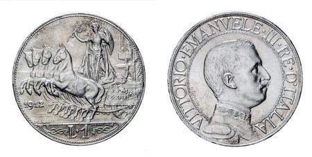 coin silver: One Lira Silver Coin 1912 Quadriga Veloce Vittorio Emanuele III Kingdom of Italy isolated on white, Mint of rome