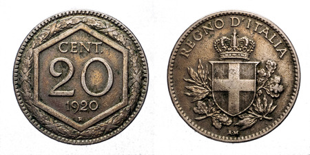 silver bullion: Twenty 20 cents Lire Silver Coin 1920 Exagon on front and Crown Savoy Shield on back, Vittorio Emanuele III Kingdom of Italy isolated on white, Mint of rome