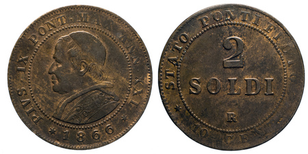 pontiff: two 2 Soldi Copper Coin 1866 pope Pio IX papal state, Mint of Rome, pontiff Pio IX Head of Front, Value on Back Stock Photo