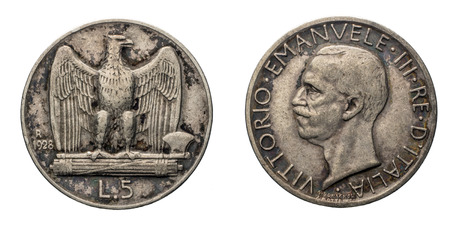 fascist: five 5 Lire silver Coin 1928, fascism age, fascist eagle arms on back and Vittorio Emanuele III Kingdom of Italy on front, Mint of rome, black patina