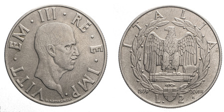 fascist: two 2 Lire acmonital Coin 1939 XVIII, fascism age, fascist eagle arms on back and Vittorio Emanuele III Kingdom of Italy on front, Mint of rome
