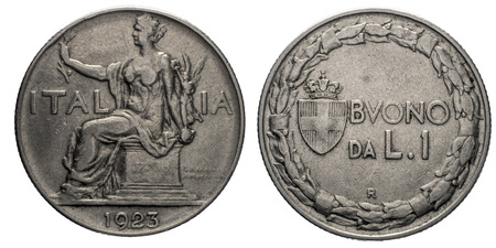 sitted: One 1 Lira Nichelio Coin 1923 Buono, Sitted Italy on back and value with Savoy arms on front, Mint of rome Stock Photo