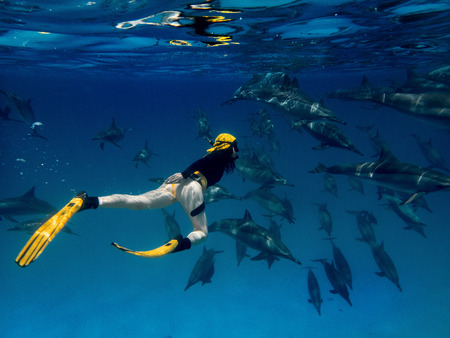 A moman freediver with the big school of dolphins