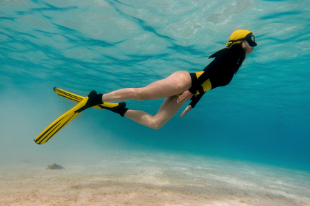 Pretty girl free diving in the pacific ocean 스톡 콘텐츠