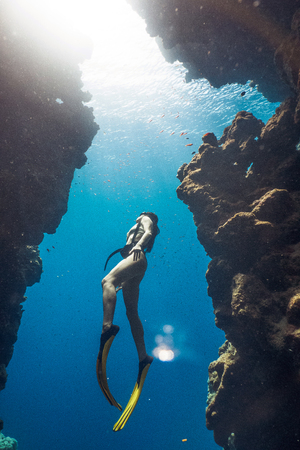Amazing girl freediving in famous Bells, Egypt
