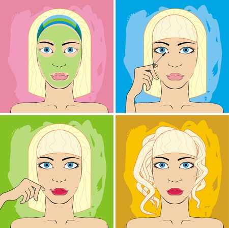 she does make-up Vector