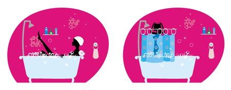 girl in the bathroom Stock Vector - 4621781