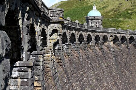 elan: Dam wall at Elan Valley in Wales,  United Kingdom Stock Photo