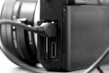 plugged in: Camera lead plugged in and charging