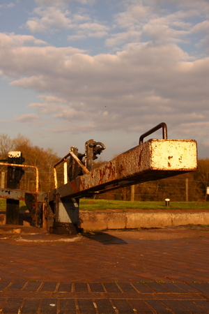 canal lock: Canal lock gate on the Shropshire Union Canal Stock Photo