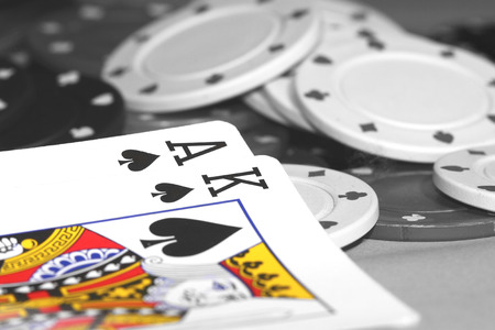 Abstract image of a blackjack hand using selective color