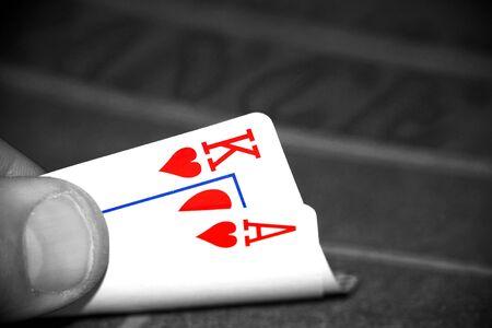 blackjack: Abstract image of a blackjack hand using selective color