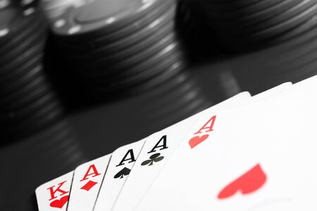 Abstract image of a poker hand using selective color
