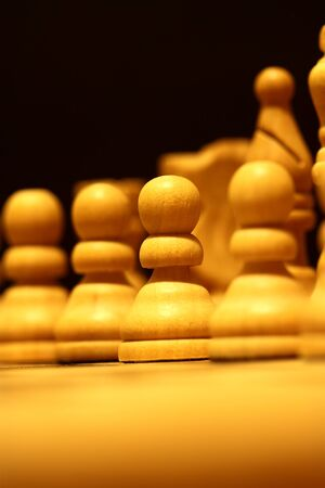 pawns: Wooden chess pieces on a chess board