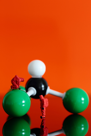 anaesthetic: Miniature model chemical team with a molecular model of chloroform