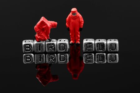 Bird flu on beads with miniature scale model chemical team Stock fotó