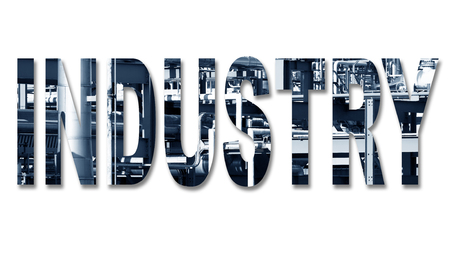 Industry with an image of a gas terminal inside the text in blue with shadow