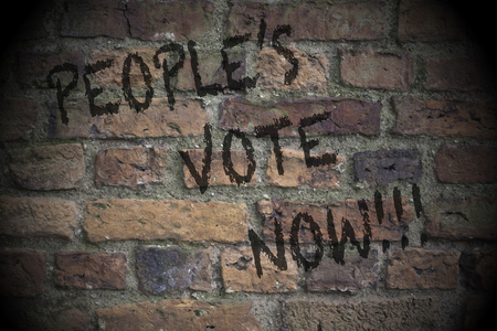 People's vote now written on a brick wall.  Brexit second referendum vote concept with lighting effect