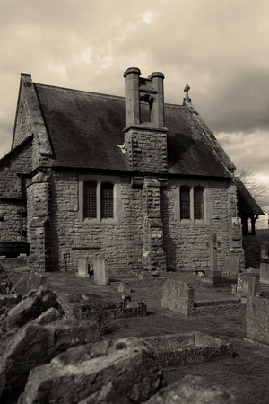 Chapel and cemetery in Much Wenlock, England. United Kingdom with toning