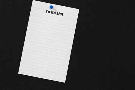 To do list on a page from a notebook stuck onto a black cork background with a drawing pin
