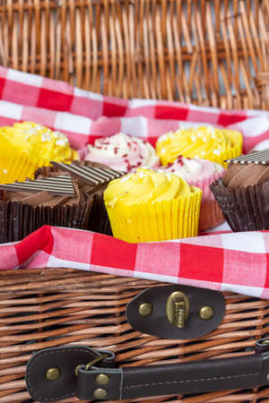 Variety of cupcakes in a wicker picnic basket.  With gingham cloth