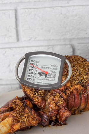 Meat thermometer checking temperature in a roast leg of lamb.