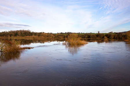 Flood water on the River Severn at Cressage, Shropshire. Christmas Day 2020 flooding