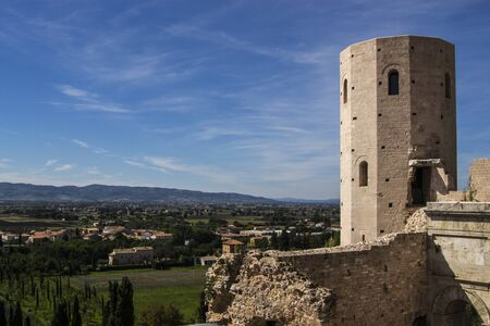 spello: View of the valley of Assisi from the Gate of Venus in Spello