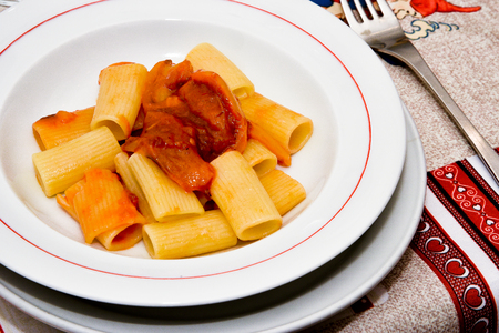 neapolitan: Neapolitan paccheri with a sauce of tomatoes and peppers Stock Photo