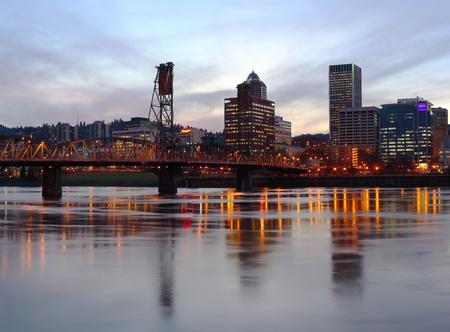 A beautiful panoramic skyline at dusk of Portland Oregon.