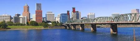 Hawthorne Bridge and Skyline, Portland OR.