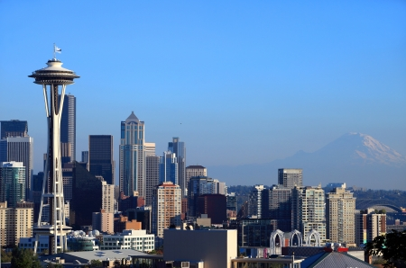 Seattle skyline & Mt. Rainier, Washington state.