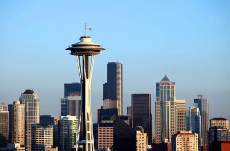 Seattle Skyline at sunset, Washington state.  photo