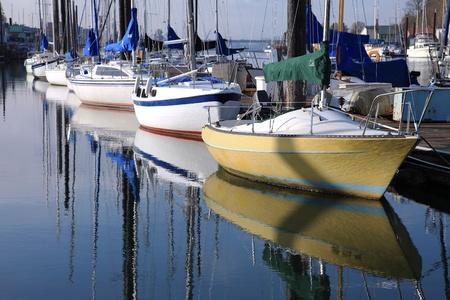 Sailboats in a marina, Portland Oregon.