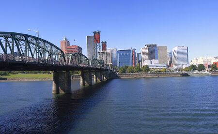 Hawthorne bridge and skyline, Portland OR. Stock Photo