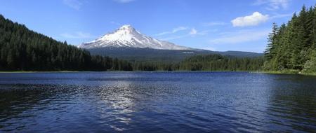 trillium lake: Mt. Hood & Trillium lake panorama, Oregon.