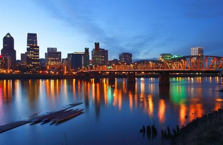 Portland Oregon at dusk.  Stock Photo