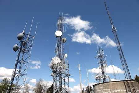 Telecommunication & cell towers technology.  Stock Photo