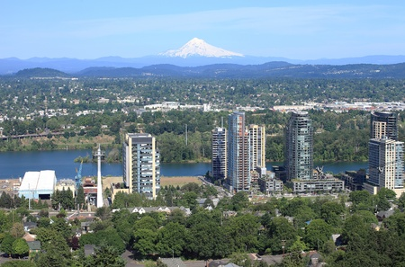 high rises: High rises under construction & east Portland.  Stock Photo