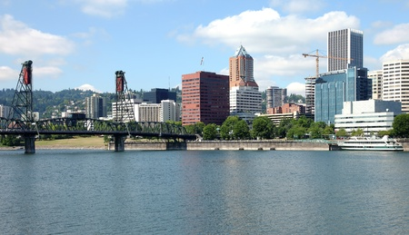 The Hawthorne bridge and Portland skyline.  photo